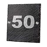 polar-effekt Schiefertafel Türschild mit Gravur - Geschenk Zum Einzug - Schieferplatte 20 x 20 cm - Motiv Schlichte Hausnummer