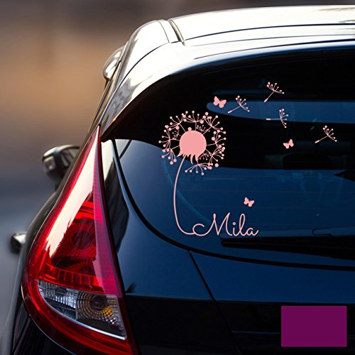 ilka parey wandtattoo-welt® Autotattoo Heckscheibenaufkleber Fahrzeug Aufkleber Sticker Baby Name Pusteblume M1864 - ausgewählte Farbe: *lila* ausgewählte Größe: *M - 28cm breit x 25cm hoch*