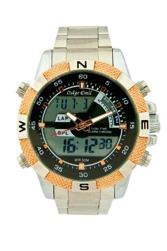 Oskar Emil - Ranger RG - Montre Homme - Quartz Analogique - Digital - Alarme/Chronomètre/Chronomètre/Double Fuseau Horaire - Bracelet Acier Inoxydable Argent