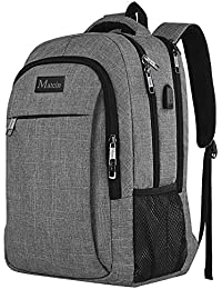 MATEIN Travel Laptop Backpack, Business Backpack Bag with USB Charging Port, Slim Lightweight Laptop Bag, Water Resistant School Rucksack for Women Men, Fits 15.6 Inch Laptop and Notebook-Grey