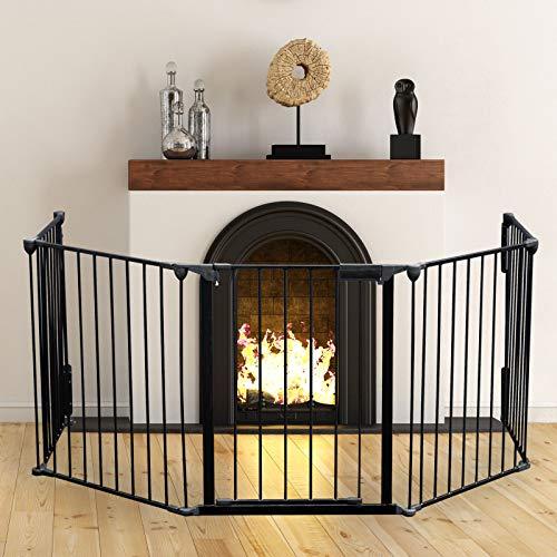 Kaminschutzgitter XL 300 cm Absperrgitter für Kinder mit Tür und Wandhalterung 5 Elemente aus Stahl