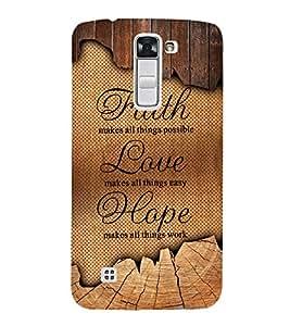 Faith Love Hope 3D Hard Polycarbonate Designer Back Case Cover for LG K10 4G Dual