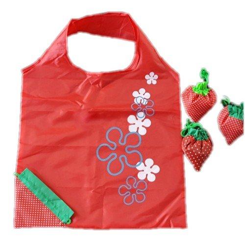 Wiederverwendbare Einkaufstaschen, favolook Eco Erdbeere Faltbar Kunststoff Lebensmittels Tote Frauen Aufbewahrungsbeutel 8Farben rot