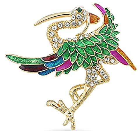 SaySure - Chic Red-crowned Cranes Wings Rhinestone Brooch Pin