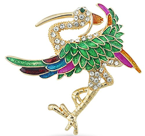 SaySure - Chic Red-crowned Cranes Wings Rhinestone Brooch Pin (Rainbow Bowling-pins)