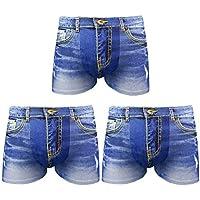 Desconocido JIER Calzoncillos Boxer para Hombre Moda 3D Estampado Lavados Cowboy imitación Personalizadas Ropa de Dormir Atractivo Briefs Pantalones Cortos de Ropa Interior