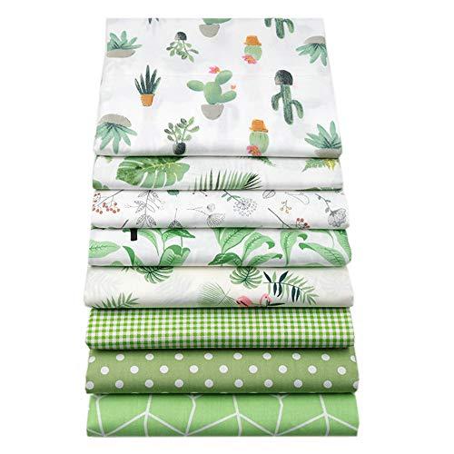 YYSZ Stoffbündel für Patchwork-Quilten, vorgeschnittene Quilt-Quadrate, verschiedene Muster, 46 x 56 cm, Grün, 8 Stück