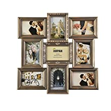 ARPAN Vintage Gold Multi Aperture Picture Photo Frame, Holds 9 x 6x4'' Photos, Best Gifting Frame, Family Frame