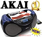 Akai CD AM FM Portable Boombox CE2000-USA Limited Edition with LCD Display Aux Bass Boost