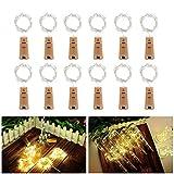 Flaschen Lichterketten, 【12 Stück】 ALED LIGHT Flaschenlicht Warmweiß, LED Lichterkette Korken mit Batterie, 100cm 20 LEDs Weinflaschen Lichter Sternenlicht für Flasche DIY Weihnachten Party Hochzeit