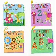 TOYMYTOY Libros de Tela para Bebes Aprendizaje Animales Números Carácter y Formas 4 Unidades