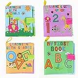 YeahiBaby Libros de Tela para Bebes Juguetes Aprendizaje Animales Números Formas 4 Piezas