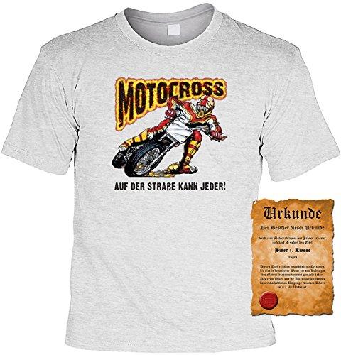Biker Motorrad Motiv T-Shirt :-: mit Urkunde grau-01