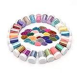 Kurtzy 20 pezzi Glitter Polvere - 10g Glitter Unghie - Glitter Fini - Artigianato Glitter - Polveri Glitter per Unghie, Viso, Album Ritagli, Creazione Cartoline, Tatuaggi - Artigianato Glitter