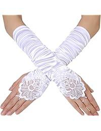 Mode Kinder Weißer Stretch Satin Lange Finger Handschuhe Für Blumenmädchen Kinder Party Kleid Sicke Handschuhe Damen-accessoires
