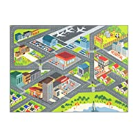 KC CUBS Playtime Collection City Town Road Map Educational Learning & Game Area Rug