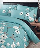 """Just Contempo Luxus-Bettwäsche, Motiv """"orientalische Blumen"""", Poly-Baumwolle, Polybaumwolle, Aqua (blau Türkis Mint Creme schwarz), Bettbezug Einzelbett"""