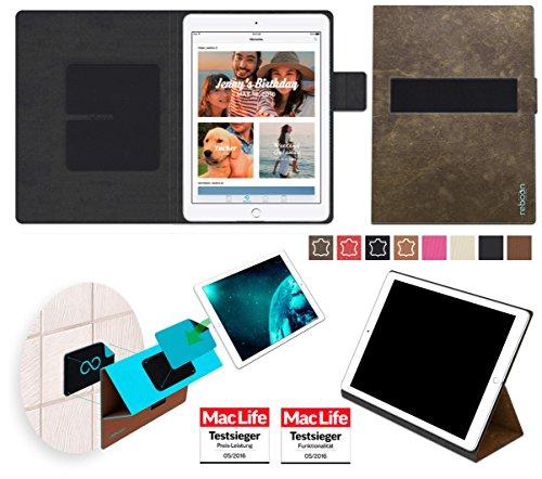 reboon Hülle für Apple iPad (2017) Wi-Fi Tasche Cover Case Bumper | in Braun Wildleder | Testsieger