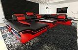 Canapé Intérieur de la maison ENZO XXL Design Canapé + LED NOIR - Rouge