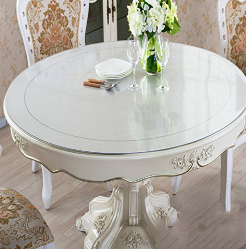 Unbekannt *Küchenwäsche Dickes PVC runde scheuern Tischdecke, weiche Glas Tischmatten Wasserdichte Kristallplatte Couchtisch Tuch Tischdecke 2mm (Farbe : Scrub-2mm, größe : Round-138cm)