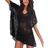 Baijiaye Femmes Knit Maillots de Bain Coverups V Cou Loose Knit Hollow Bikini Couvertures pour la protection du soleil Vacances Pool Party ou à la plage de lune de miel