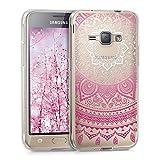 kwmobile Funda para Samsung Galaxy J1 (2016) - Carcasa de [TPU] para móvil y diseño de Sol hindú en [Rosa Fucsia/Blanco/Transparente]