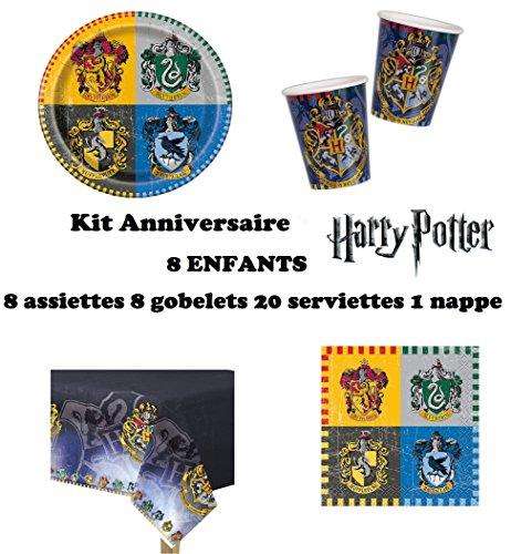 Kit Harry Potter 8 enfants Complet Anniversaire (8 assiettes, 8 gobelets, 20 serviettes, 1 nappe) fête