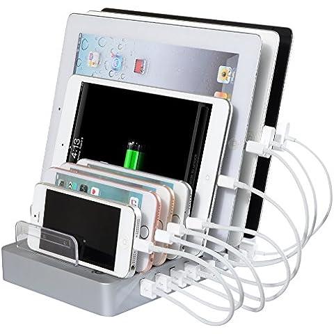 Estación, AIYIBEN® desmontable Multi USB estación de carga [96W 8 puertos USBestación de carga], Universal Desktop Tablet teléfono carga estación soporte organizador para Smartphones y Tablets y otros dispositivos USB de carga. (SILVER)