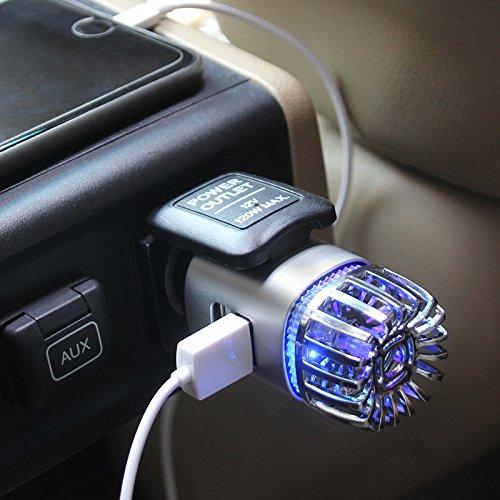 Auto Lufterfrischer mit 2X USB, Luft-Ionisator ionisiert die Luft, 2X USB zum Aufladen von Handys und Zubehör, für Raucher, entfernt schlechte Gerüche