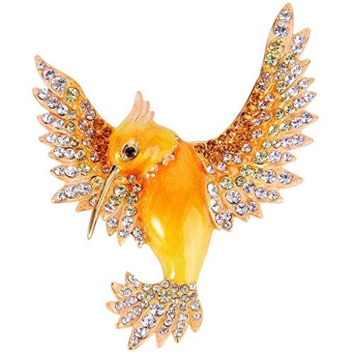 EVER FAITH® MUJER AUSTRIACO DE CRISTAL AMARILLO CON ESMALTE NARANJA LOVELY BIRD BROCHE CLARO DE ORO DE TONO N08075-1