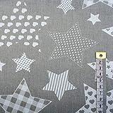4L Textil Baumwollstoff Uni 100% Stoffe Stoff Meterware Baumwolle Ungemuster, Blumen, Dots, Rosen, Eulen 50 cm (grau große weiße Sterne)