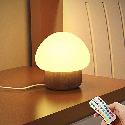 NNIUK Nachtlicht kinder LED Pilzlampe Silikon mit drahtloser Fernbedienung 16 Verschiedene Farbe für Kinder Schlafzimmer - EU Stecker