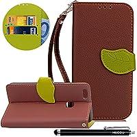 HUDDU Braun Schutzhülle für Huawei P10 Lite Hülle im Bookstyle Blatt Magnet Design Slim Handyhülle Leder Tasche... preisvergleich bei billige-tabletten.eu
