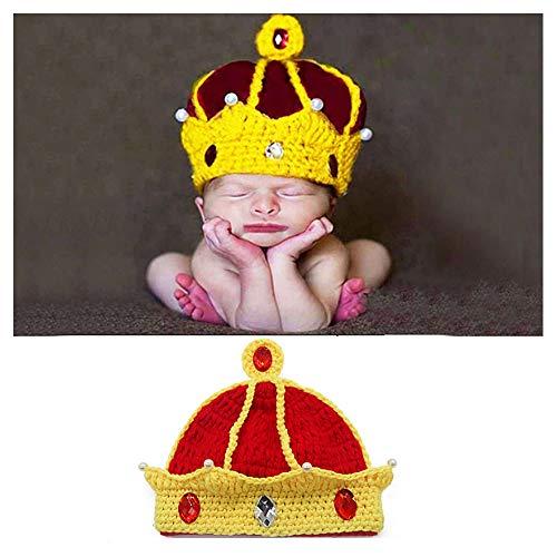 NROCF Handarbeit Neugeborenes Baby Mädchen Junge Häkelkrone Hut, 100% Hochwertiges Acryl, Fotografie Prop -