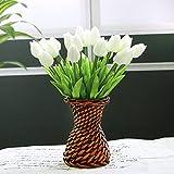 Fiori artificiali,Cozyswan 24 pcs PU Tulip Real Touch Latex Tulipano per la cerimonia nuziale per la decorazione domestica - Bianco