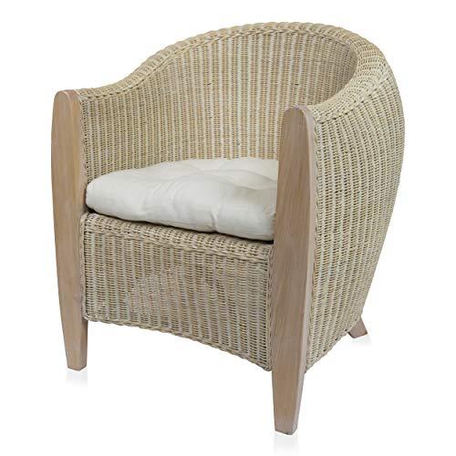 BARI Rattansessel Clubsessel Loungesessel Sessel White wash inkl. Sitzkissen Armlehnstuhl