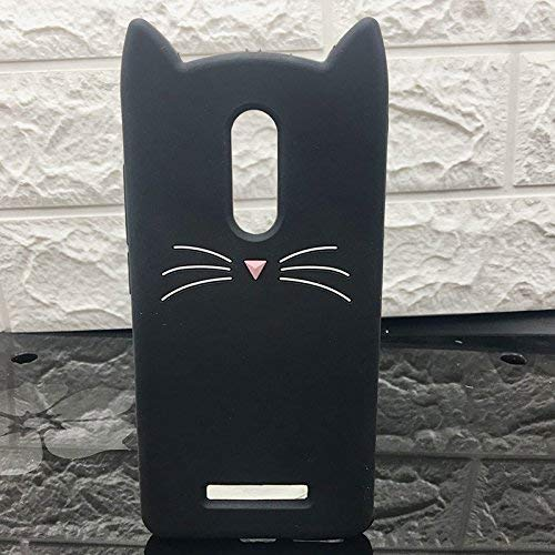 ERIT XIAOMI REDMI Note 3 [3D Cartoon Series] 3D Cute Cat Meow Soft Silicone Back Cover for REDMI Note 3 - (Black) 3D Meow Party Bread Cat Kitty Protective Soft Rubber Case Skin for MI Note 3