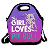 Pzeband This Girl Loves Her Pit Bull Purple Lunch Bags Insulated Travel Picnic Lunchbox Tote Handbag with Shoulder Strap Adults