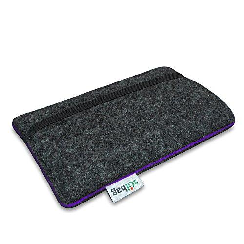 Stilbag Handyhülle FINN für Apple iPhone 7 | Smartphone-Tasche aus Filz | Handy Schutzhülle | Handytasche Made in Germany | Farbe: anthrazit/rot anthrazit/violett