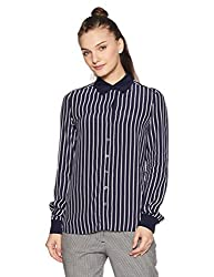 Tommy Hilfiger Womens Button Down Shirt (A7AWW110_Hollie Stp Peacoat_M)