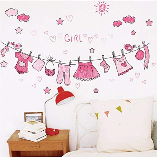 Sunny Mädchen-kleidung (sunny pink kleidung wandaufkleber schlafzimmer wohnkultur mädchen geschenk dekorationen cartoon wandtattoos diy wandbild kunst pvc poster 30x90 cm)