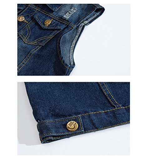 WS668 Herren Retro Zerrissen Gilets Mantel Classic Denim Weste Ärmellose Jacke Mens Coat 2206-Navy blau