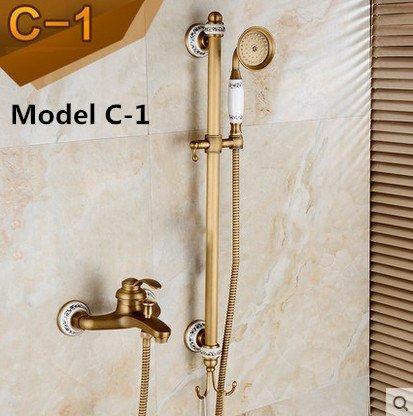 Burgund-gold-finish (Luxurious shower 2016 Neue Messing antik Finish Bad Mischventil Warmes und kaltes Wasser Dusche Wasserhahn Set/Wandmontage Badewanne Armatur, Burgund)