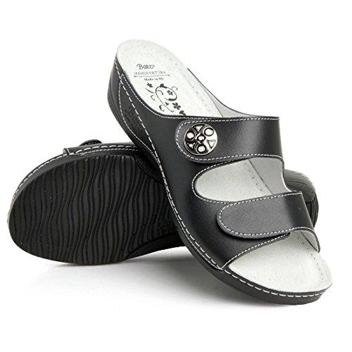 Damen Hochwertigem Komfortschuhe Odett Pantolette Schwarz Batz Sandalette Lederschuhe d5PYUnUwq