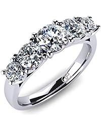 Moncoeur Diamonds Damen-Ring Pivoine 925 Sterlingsilber 5 Swarovski Steine