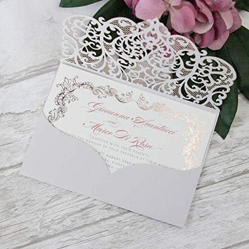 Fai da te apribile taglio laser inviti matrimonio partecipazioni matrimonio grigia chiara carta con busta - campione prestampato !!