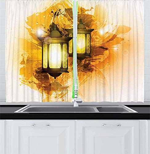 Cycle Liner Shorts (Hmihilu Orient Kitchen Curtains, Urban Old Fashioned Lanterns Antique Culture Paintbrush Image, Window Drapes 2 Panel Set for Kitchen Cafe Decor, Coffee 110x90 in)