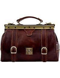 Tuscany Leather - Monalisa - Mallette infirmière rétro en cuir avec boucles - TL10034