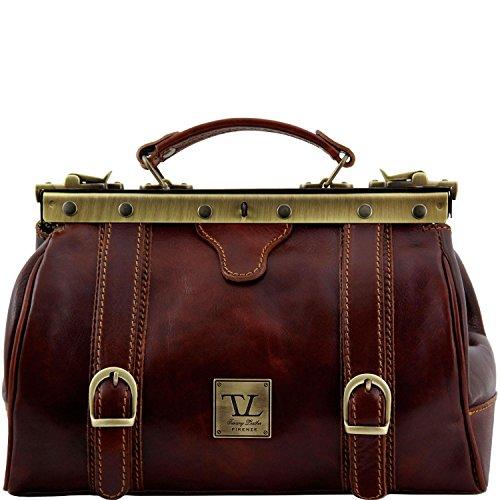 Tuscany Leather - Monalisa - Borsa medico in pelle con fibbie frontali Nero - TL10034/2 Marrone