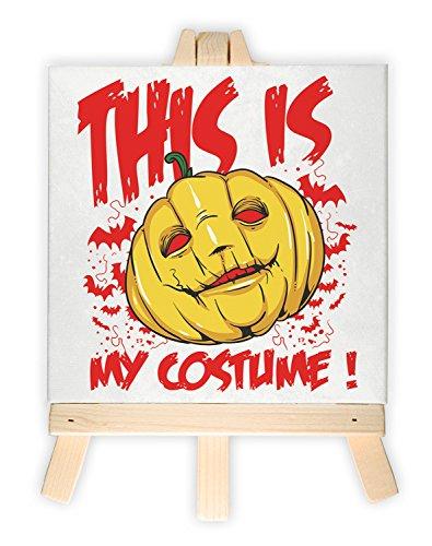 Abstrakte Halloween Kostüm Kunst (Kürbiskopf, Format: 15x15 cm, Minileinwandbild inkl. Staffelei, kreativer Dekoartikel & Geschenkartikel für jeden Anlass. Sehr schön im Büro, Wohnzimmer, Kinderzimmer, Schlafzimmer oder)